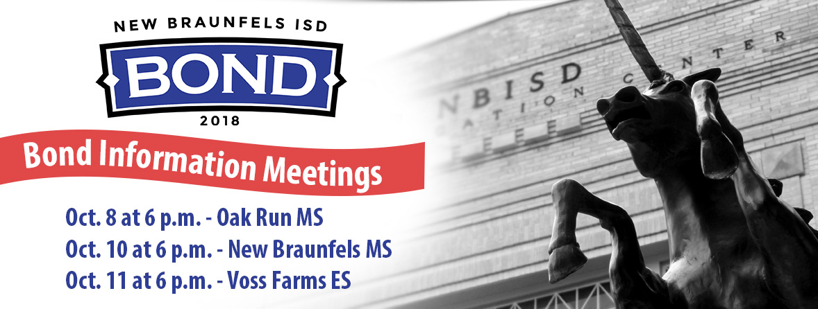 Bond Information Meetings – Oct. 8, 6 p.m. at ORMS; Oct. 10, 6 p.m. at NBMS; Oct. 11, 6 p.m. at Voss Farms ES