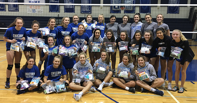 NBHS Volleyball teams donates personal hygiene items to Hurricane Harvey victims