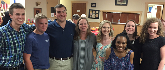 Several New Braunfels High School students attended either Texas Boys State or Bluebonnet Girls State this summer. They include: (pictured left to right) Kyle Smith, Sebastian James, Christopher Greenwell, NBHS Career Center Advisory Tina Miller, Krista Slate, Maya Goodlow, Alyssa Wolf, Riley Gallaher. (Oct. 2, 2018)