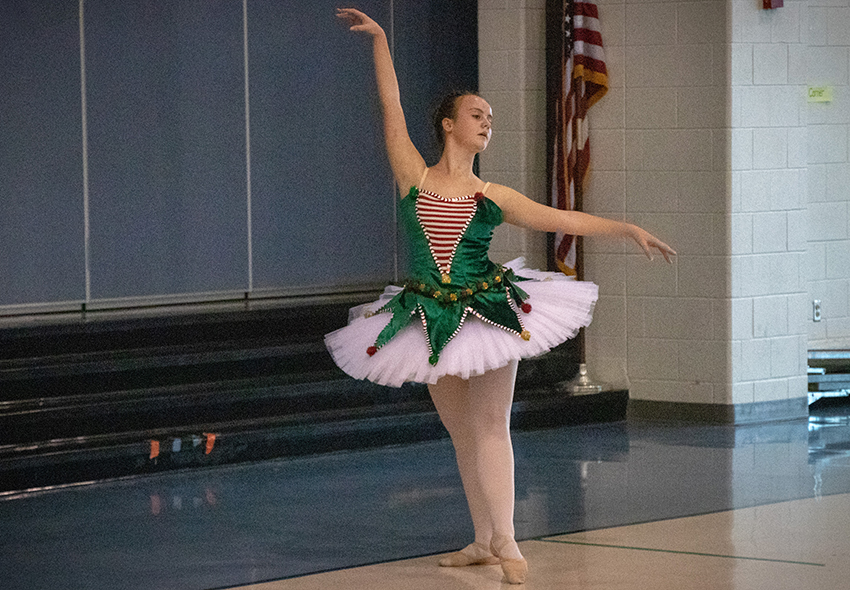 Jordyn Giffen, a student at the NBHS Ninth Grade Center, performs ballet for students at Klein Road Elementary on Dec. 7.
