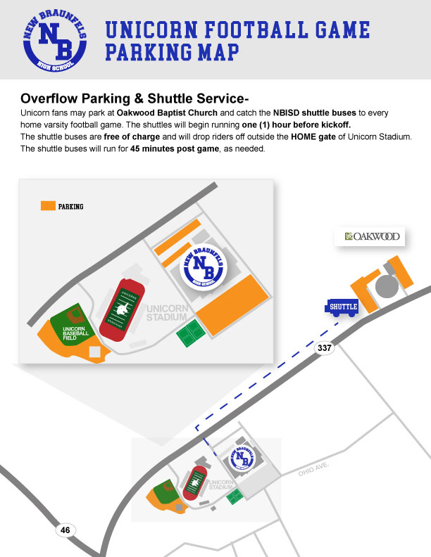 NBISD Unicorn Stadium Football Game Parking Map, Overflow Parking and Shuttle Service