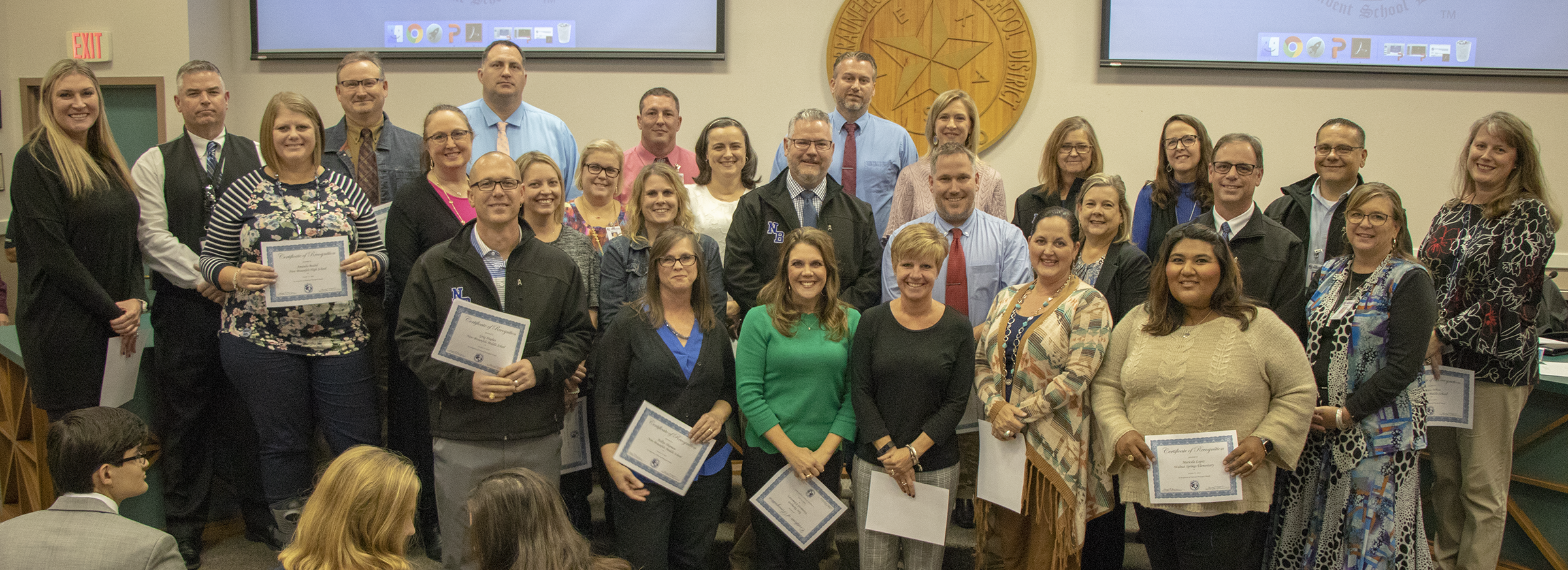 The NBISD Board of Trustees honored all of NBISD principals and assistant principals at the Oct. 15 regular monthly meeting.