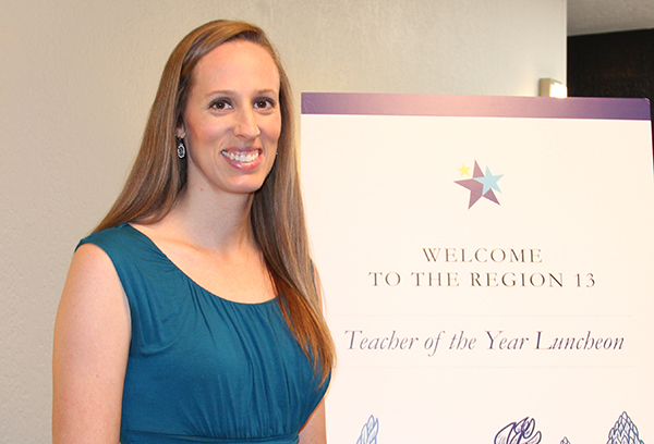 Lauren Bain, the music teacher at NBISD's Carl Schurz Elementary, was named the Region 13 Elementary Teacher of the Year during a luncheon held on Aug. 3 in Austin.