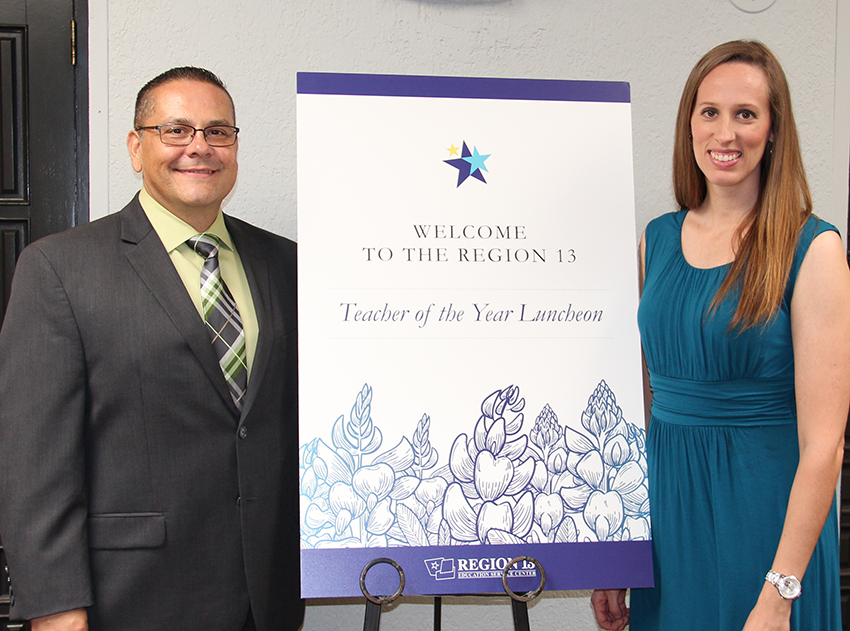 Lauren Bain, Region 13 and New Braunfels ISD Elementary Teacher of the Year, with Carl Schurz Elementary Principal Duane Trujillo at the Region 13 Teacher of the Year Luncheon on Aug. 3 in Austin.