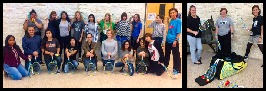 Oak Run Middle School students and staff pose with new tennis equipment.