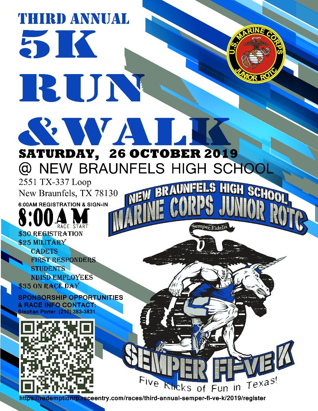 3rd Annual NBHS MC JROTC Semper Fi-ve K on Oct. 26