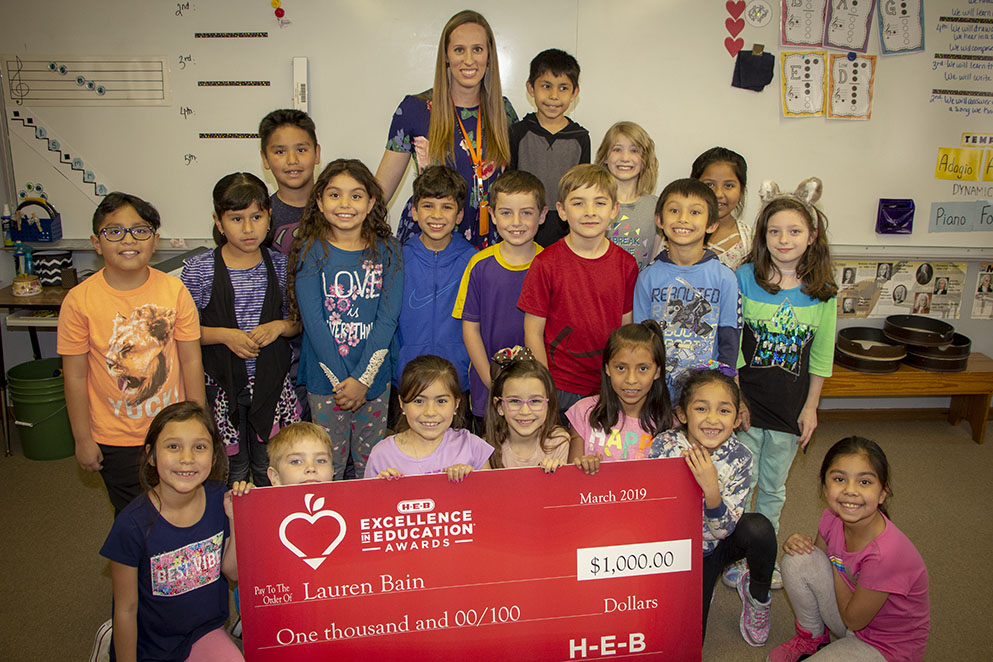 Lauren Bain, named finalist in the H-E-B Excellence in Education in Elementary Leadership category (03/20/19)
