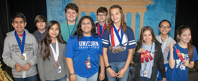 New Braunfels Middle School UIL Academic team members that placed at the 2019 Tournament of Champions held Feb. 23 at Oak Run Middle School.
