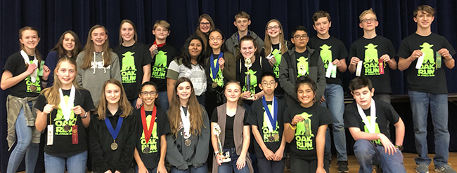 Oak Run Middle School UIL Academic team members that placed at the 2019 Tournament of Champions held Feb. 23 at Oak Run Middle School.