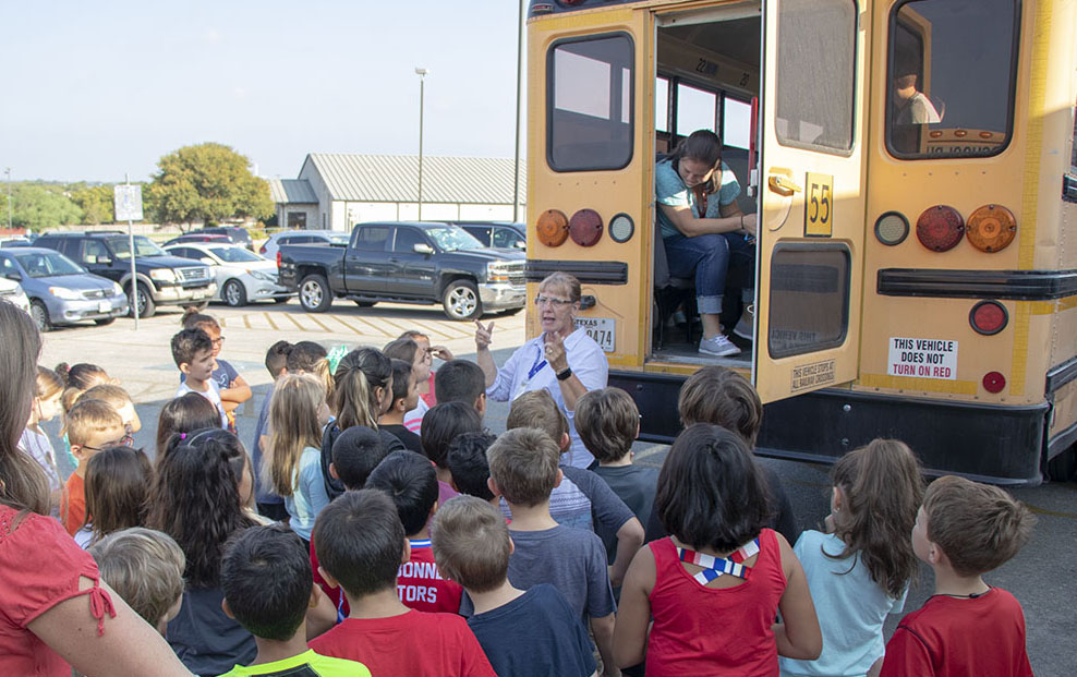 Memorial Elementary School students received school bus safety instruction on Thursday September 19, 2019.