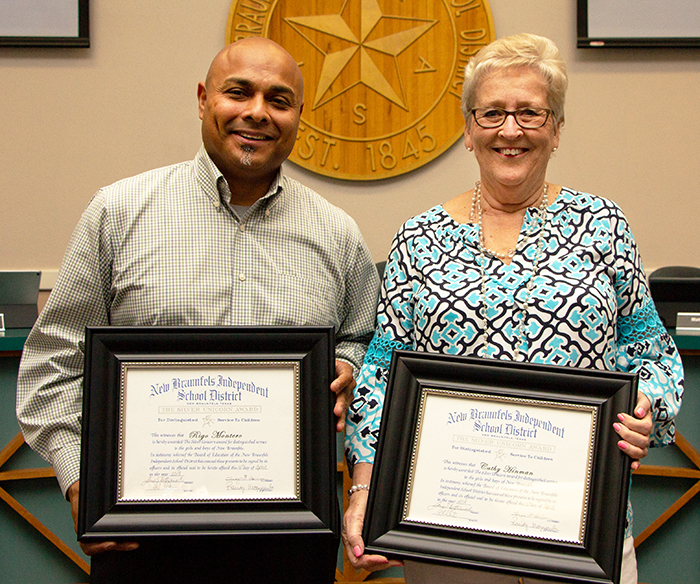The NBISD Board of Trustees inducted Rigo Montero and Cathy Hinman as Silver Unicorn recipients during their regular monthly board meeting held on April 16, 2018.