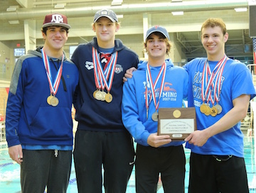 The boys team of Isaac Barrera, Cole Bruns, Will Malatek and Zach Rodeffer shaved off two seconds from the high school record in the 200 yard freestyle relay and brought home the gold, qualifying the team for State