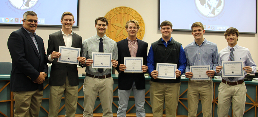The NBISD Board recognized Head Football Coach Glen Mangold, Tanner Steele, Nolan Scribner, Trevor Pierce, Caden Kiesling, Cooper Kaufmann and Colson Clark on Jan. 22, 2018, for receiving Academic All-State honors in football.