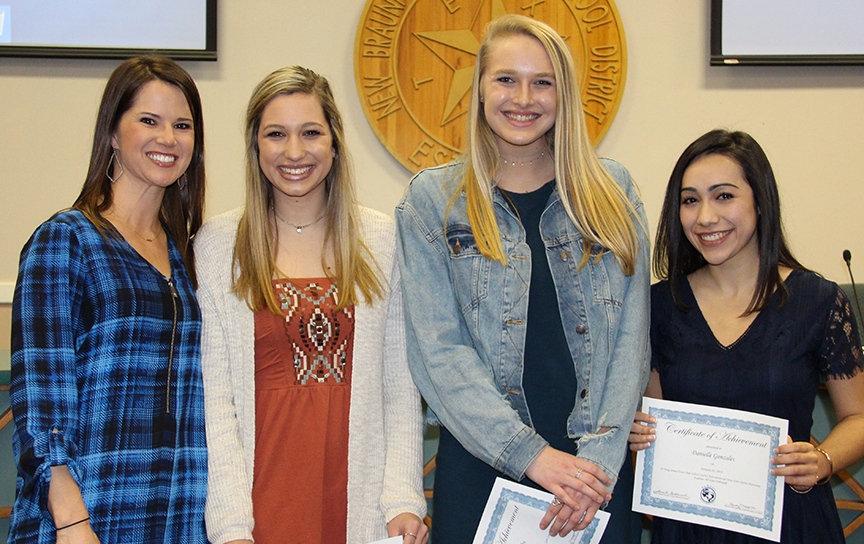 The NBISD Board recognized Coach Heather Sledge, Katie Swoboda, Hannah Jacobs and Danielle Gonzales on Jan. 22, 2018, for receiving Academic All-State honors in volleyball.