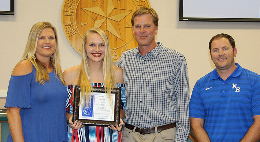 NBHS Student of the Month for October 2017: Nika, Hannah and Steve Jacobs with Board Secretary Wes Clark during the October 16, 2017 Board meeting.