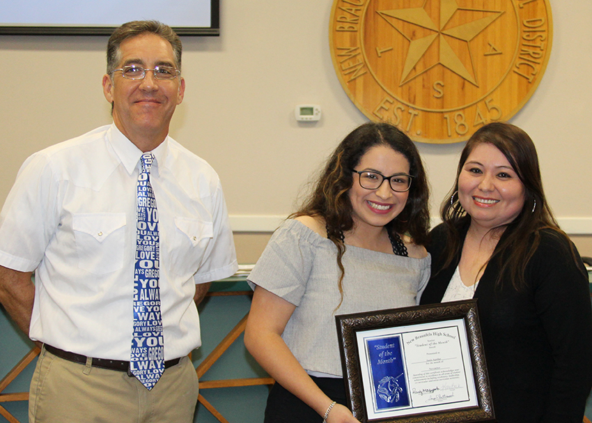 NBHS Student of the Month for November 2017: Janie Aguilar (center) with Board Trustee Michael Calta and her mother Mary Jane Aguilar. (11/13/2017)