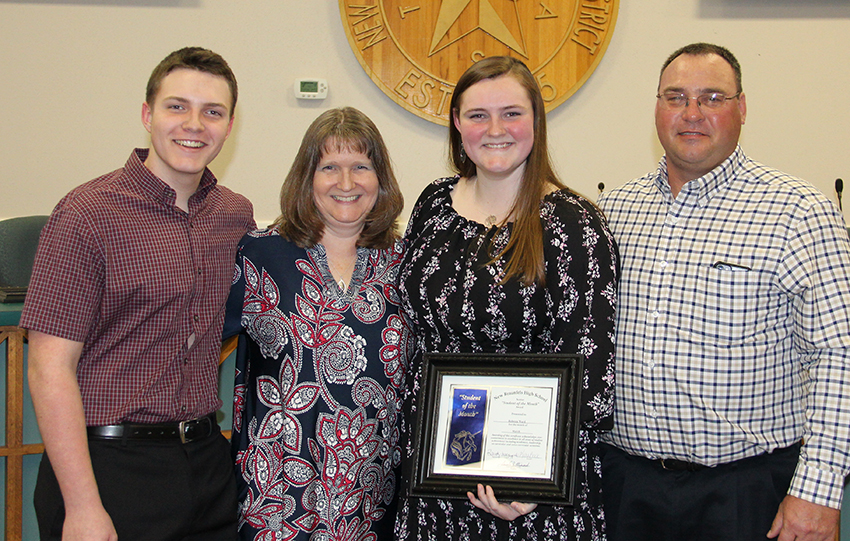Rebecca Ward - New Braunfels High School Student of the Month for March 2018 with her family at the March 19, 2018 Board meeting