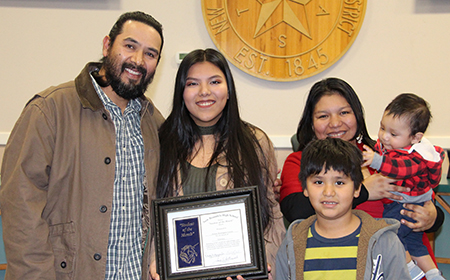 NBHS Female Student of the Month for February 2018 Stefany Dominguez with her family at the Feb. 12, 2018, Board meeting.