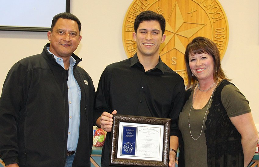 NBHS Student of the Month for December  2017: NBHS Male Student of the Month for December 2017 - William Coronado (center) and his parents Mark (left) and Mary Coronado (right)