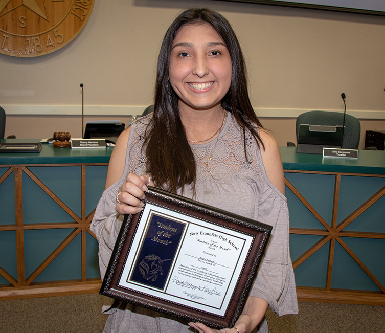 NBHS Student of the Month for April 2019 Angie Salgado honored at the April 15, 2019, regular Board meeting