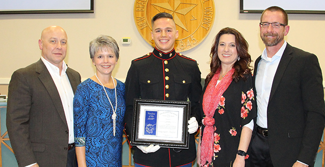 NBHS Student of the Month for November 2018 Luke Bird with his parents at the Nov. 12, 2018 regular monthly meeting of the NBISD Board of Trustees.