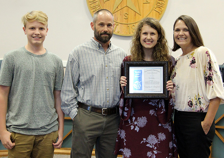 Rylie Lillibridge (2nd from right) was honored as the NBHS Student of the Month for September 2018 during the board meeting on September 17, 2018