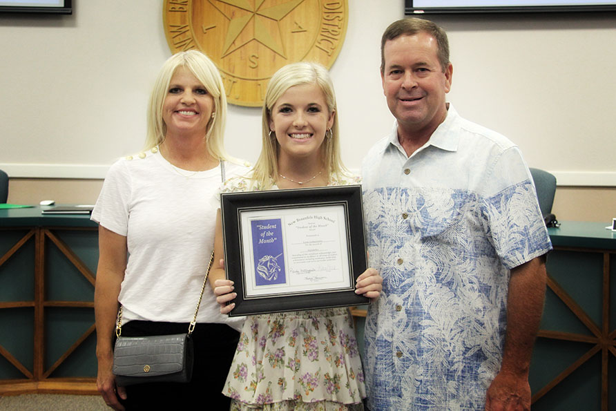 NBHS Student of the Month for September 2019  Lexie Leinneweber honored at the September 16 regular Board meeting.