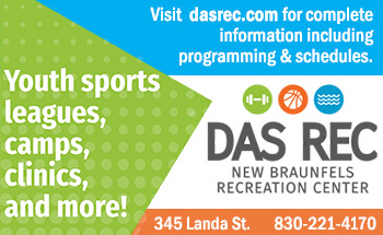 Dad Rec, New Braunfels Recreation Center. Youth sports leagues, camps, clinics and more! Dasrec.com for more information, 830-221-4170