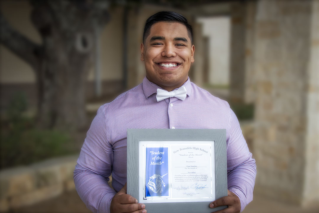 New Braunfels High School Student of the Month, November 2020: Zane Sanchez